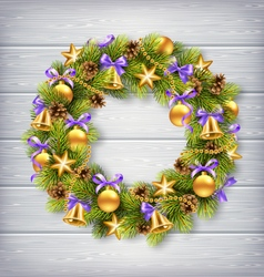 Christmas Wreath with Pine Branches Christmas vector image vector image
