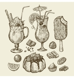 Food and drinks Hand drawn cocktail smoothie vector image vector image