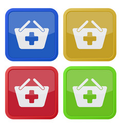 Four square color icons shopping basket add plus vector