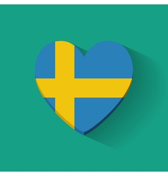 Heart-shaped icon with flag of Sweden vector image vector image