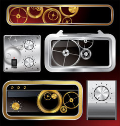 web elements collection with gears and volume knob vector image