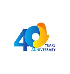 40 years anniversary celebration blue yellow vector