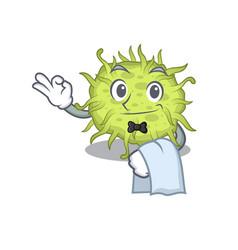 A cartoon character bacteria coccus waiter vector