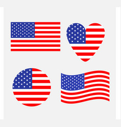 American flag icon set waving round heart shape vector