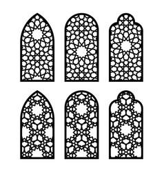 arabic arch window or door set cnc pattern laser vector image