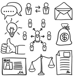 Art of business object doodles vector