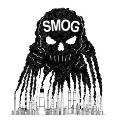 Artistic drawing of smoke from smokestacks vector