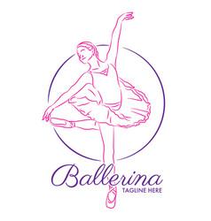 Ballet school logo design vector