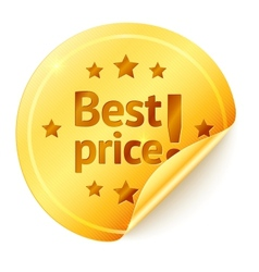 Best price isolated golden sticker vector image