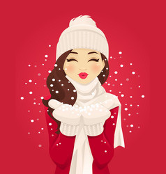 Blowing snowflakes vector