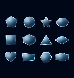 blue glowing glass plates set textured frames vector image