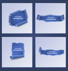Blue torn and ripped paper templates vector