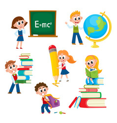 cartoon comic kids children at school vector image