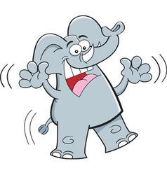 Cartoon happy elephant jumping vector