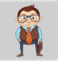 cartoon manager or businessman with briefcase vector image