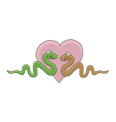 cartoon of a two cute snake in love smiling green vector image