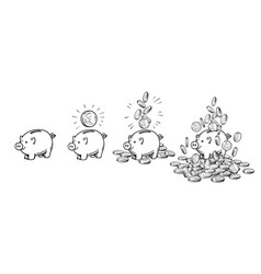 cartoon piggy bank set empty with one coin with vector image