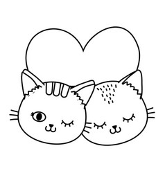 cats with heart black and white vector image