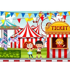 Children at the circus ticket booth vector