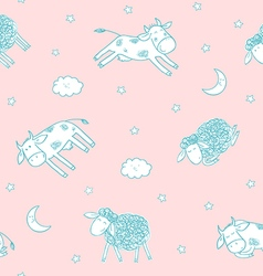 children seamless pattern with cute sheeps vector image