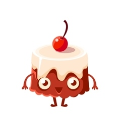 Chocolate Cake With Cherry On Top Sweet Dessert vector