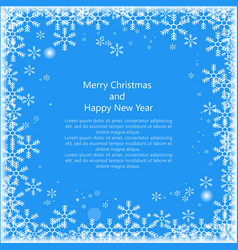 christmas snowss frame with text isolated on blue vector image