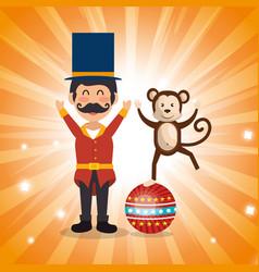 Circus presenter with monkey vector