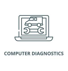 computer diagnostics line icon computer vector image