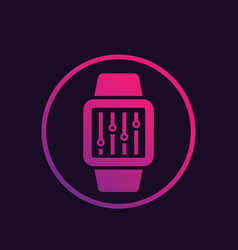 Configuration with smart watch icon vector