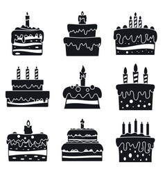 cream cake birthday icon set simple style vector image