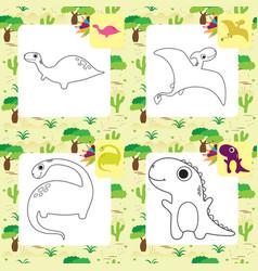 Cute cartoon dino coloring page set vector
