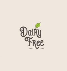 Dairy free word text typography design logo icon vector