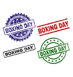 Damaged textured boxing day stamp seals vector