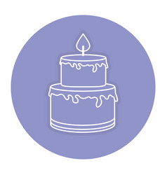 Delicious cake celebration icon vector