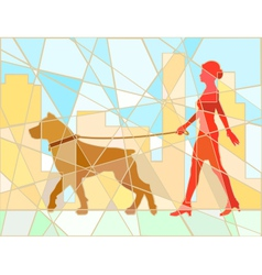 Dog walker mosaic vector image