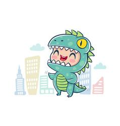 dragon in kawaii style vector image
