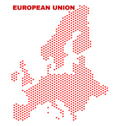 european union map - mosaic of heart hearts vector image