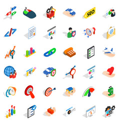 Fast career icons set isometric style vector