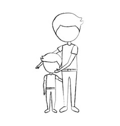 Father with son avatars vector