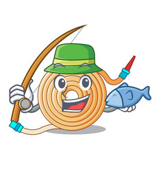 Fishing water hose to extinguish the fire vector