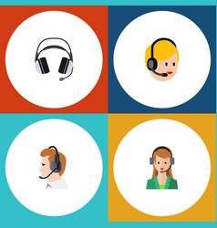 Flat center set of telemarketing secretary call vector