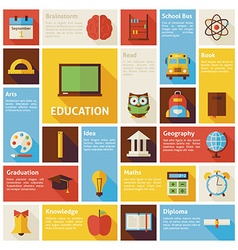 Flat Design Icons Infographic Education Concept vector image