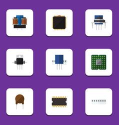 Flat icon appliance set of memory unit vector