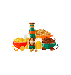 Flat mug bottle golden beer foam snacks vector