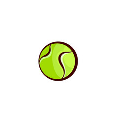 Flat sketch tennis ball isolated vector