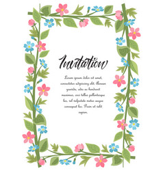 frame flowers with leaves vector image