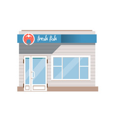 fresh fish seafood shop facade vector image