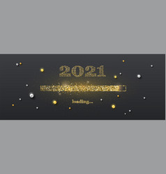 golden loading bar with transition to 2021 new vector image