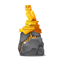 Golden owl statue on books and cracked stone with vector