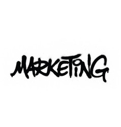 graffiti marketing word sprayed in black vector image